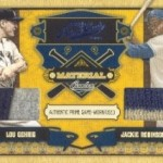 Lou Gehrig and Jackie Robinson Memorabilia Cards in Playoff Prime Cuts IV