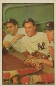 1953 Bowman Color Hank Bauer, Yogi Berra, Mickey Mantle