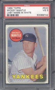 1969 topps mickey mantle white letter