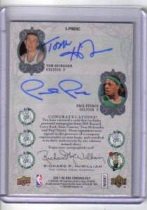 Boston Celtics Autograph Card Back
