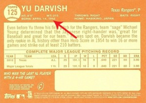 2013 Topps Heritage Baseball Error Variation Yu Darvish B