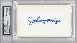 Johnny Mize Autographed index Card