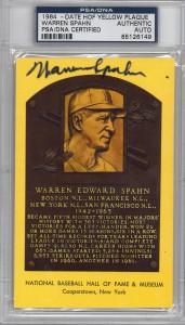 Warren Spahn Autographed HOF Plaque Card