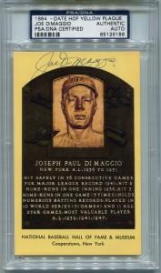 Joe DiMaggio Autographed HOF Plaque Card