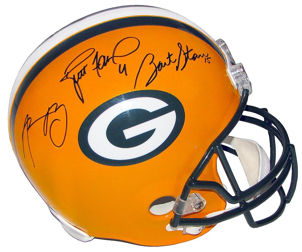 Aaron Rodgers/Brett Favre/Bart Starr Autographed packers Helmet