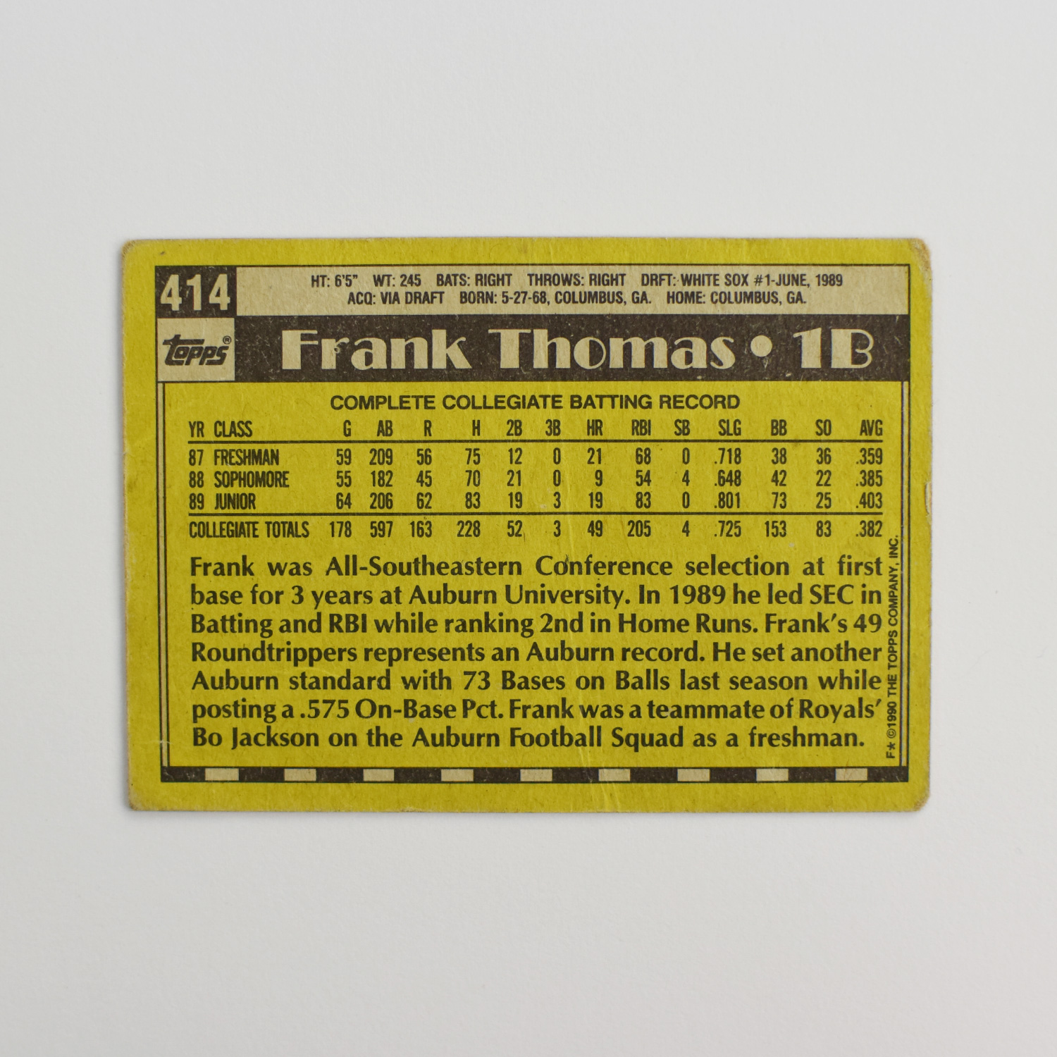 1990 Topps Frank Thomas Rookie Card Nnof Dave Adams News