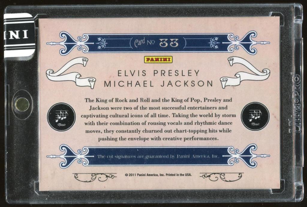 Elvis Presley Michael Jackson Autographed Card - Back