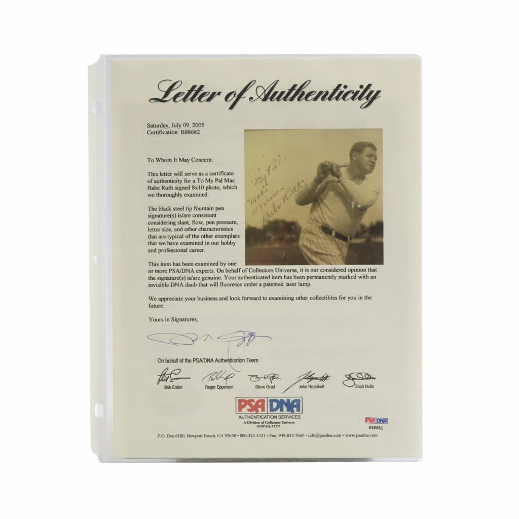 Babe Ruth PSA/DNA Letter of Authenticity
